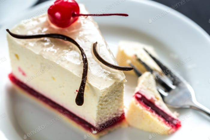 Raspberry cheesecake with sweet cherry