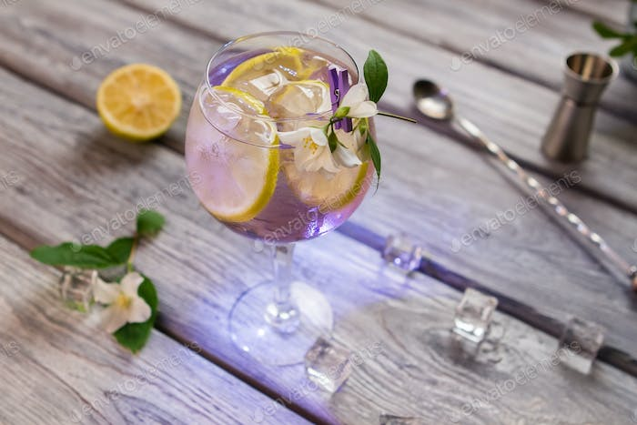Cocktail decorated with small flower