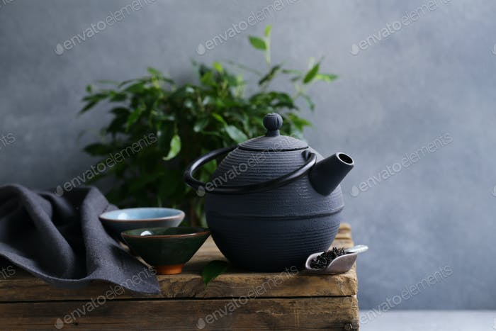 Cast Iron Kettle on Wooden Table