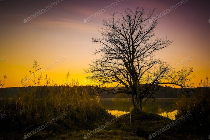 sunset at Osterseen Lake near Iffeldorf Bavaria Germany