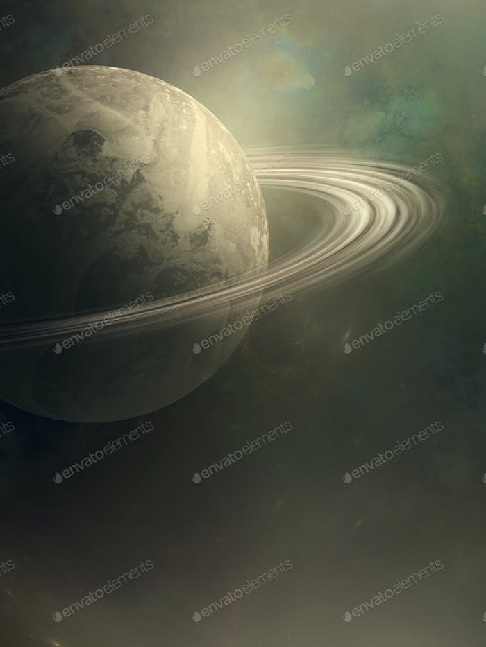 Rings of Saturn illustration in space