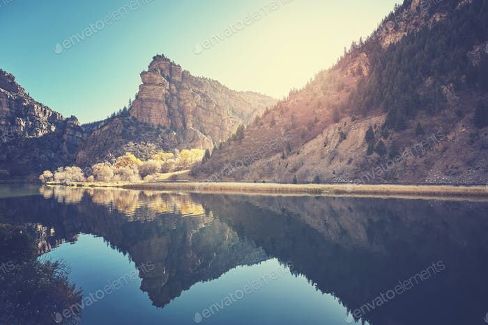 Glenwood Canyon river reflection at sunrise, Colorado, USA.