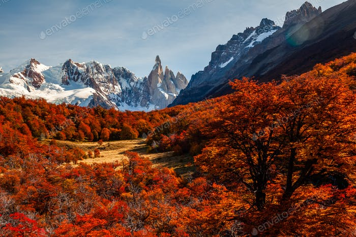 Beautiful autumn view of Cerro Torre mountain. Patagonia, Argentina