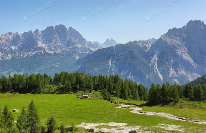 Distant massif of Croda di Lago, Dolomites, Italy