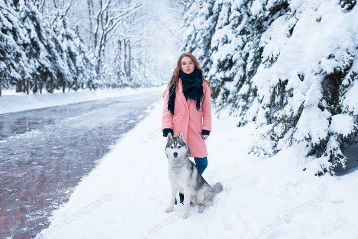 Siberian husky sitting near young woman