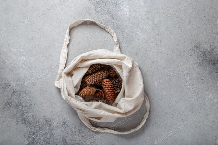 Zero waste Christmas concept. Natural Chirsmas decoration, pine cones and branches in linen bag.