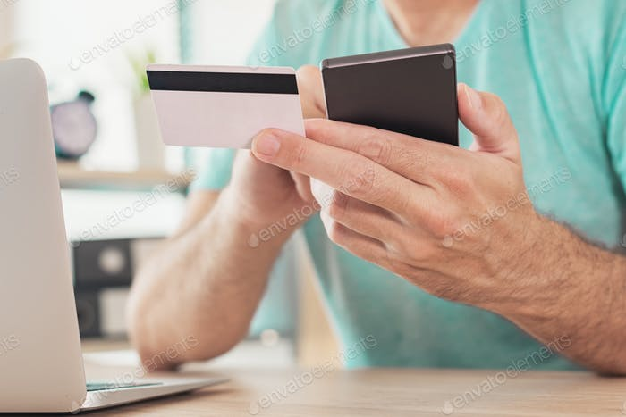 Online shopping with credit card and smart phone