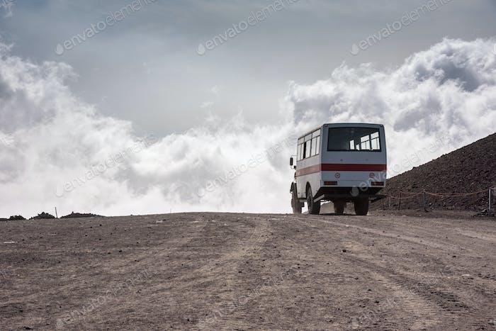 Departing bus from Torre del Filosofo on Mount Etna