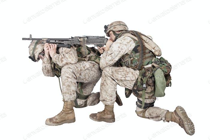 Marines shooting with machine gun studio shoot