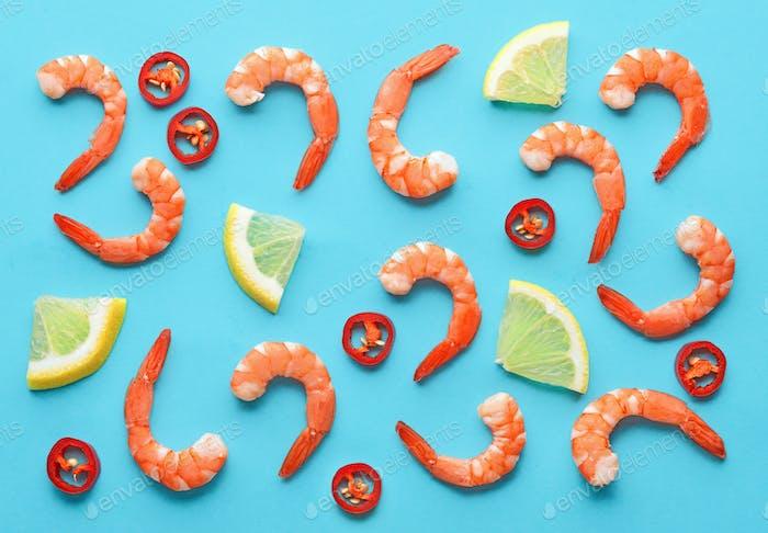 pattern of prawns, lemon and chili