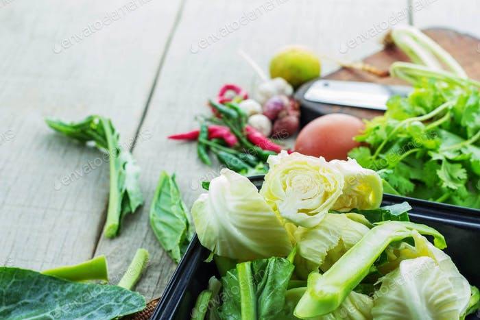vegetables in tray for cooking