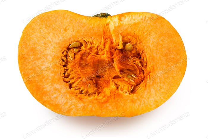 Half of a yellow pumpkin on a white background