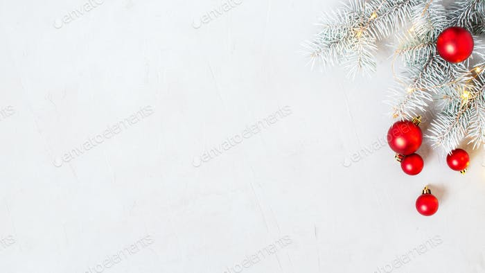 Christmas Banner With Frosty Fir Branches and Red Balls