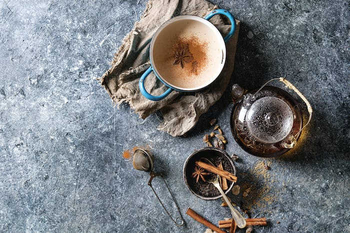 Masala chai with ingredients