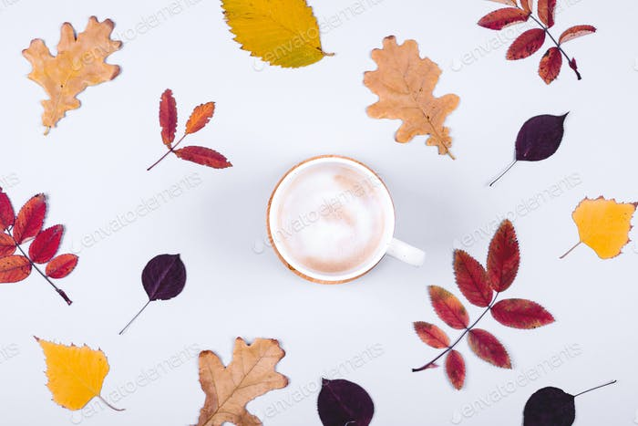 Autumn Fall Background with leaves and cup of coffee. Hello Autumn card concept.