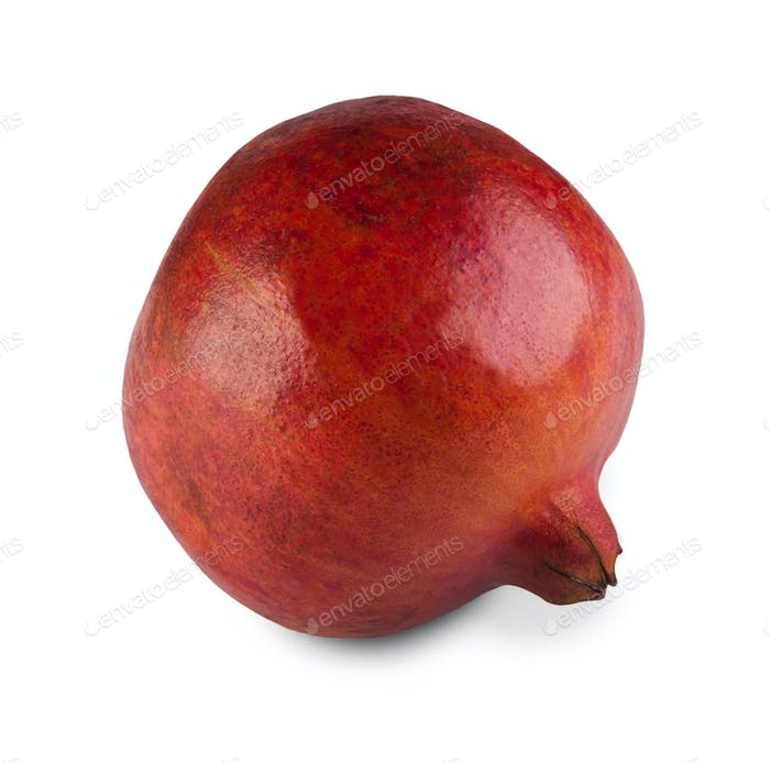 One red pomegranate isolated on white background