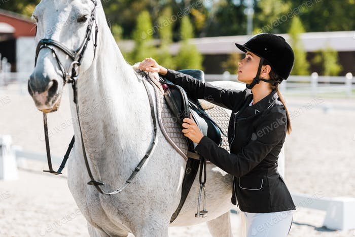 attractive female equestrian fixing horse saddle at horse club
