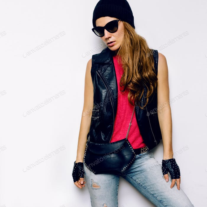 Stylish Model Rock Urban fashion accessories. Denim style