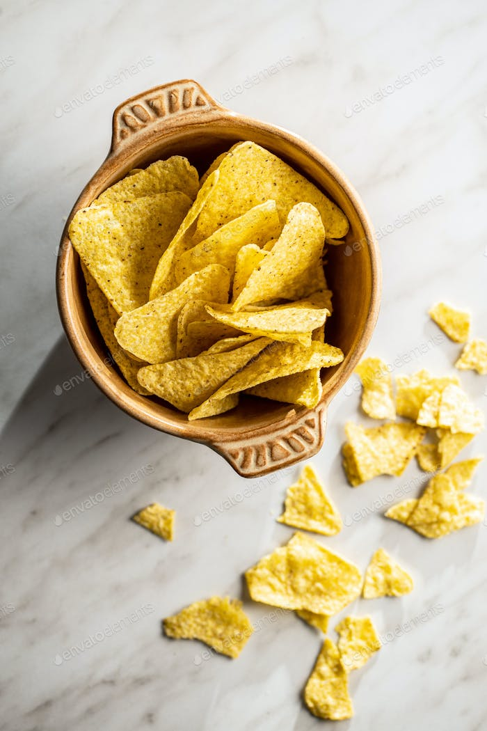 Tortilla chips. Mexican nacho chips.