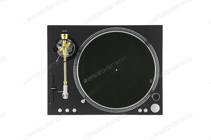 Nahaufnahme des Vintage-Plattenspielers, Ansicht von oben