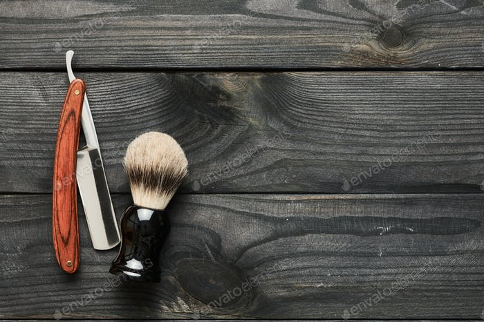 Thumbnail for Vintage barber shop tools on wooden background