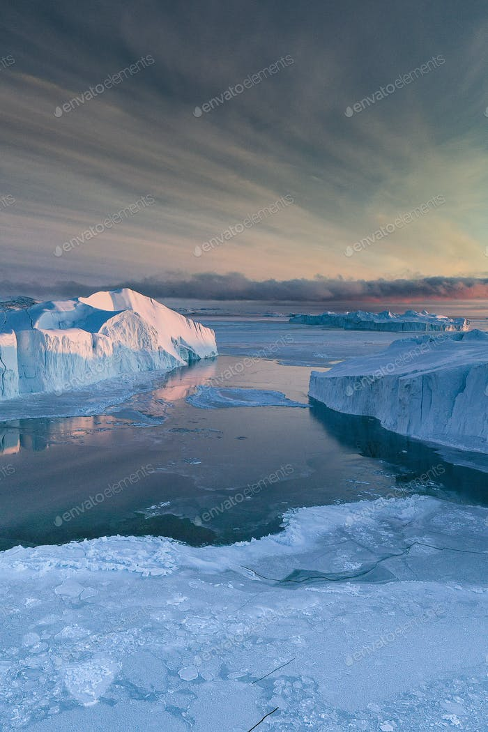 Ice covering the sea in Greenland