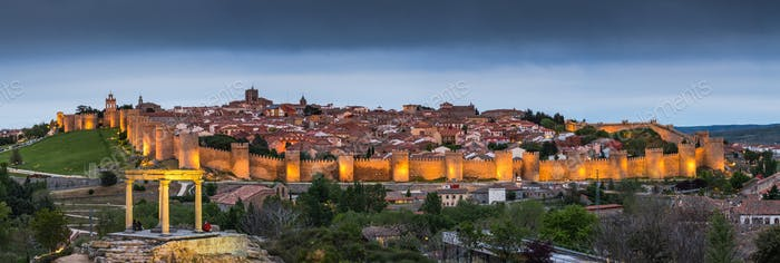 Evening stitched panorama of Avila,Spain