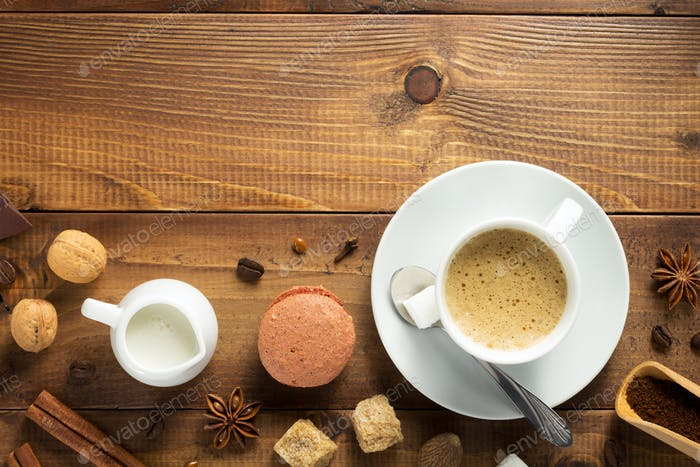 cup of coffee and ingredients