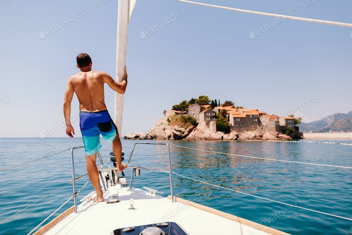 man relax on yacht boat sailing in europe