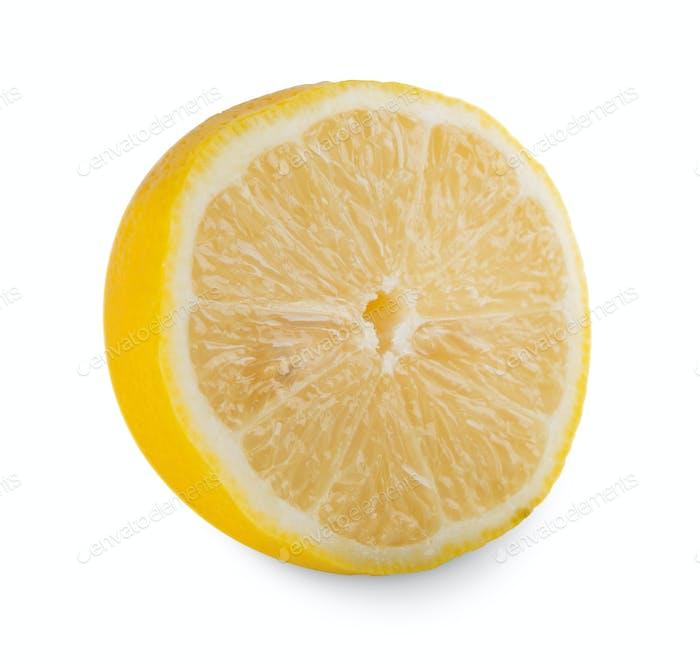 One fresh yellow lemon core closeup isolated on white background