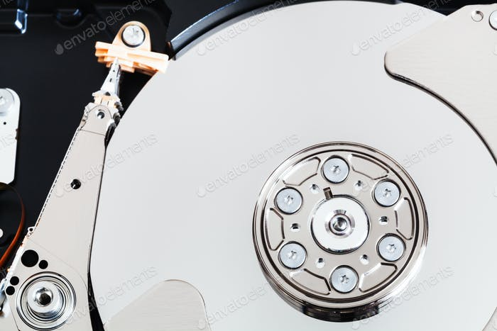 top view of open internal sata hard disk drive