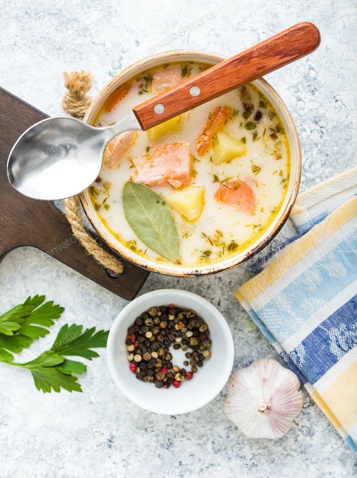 Fish salmon soup