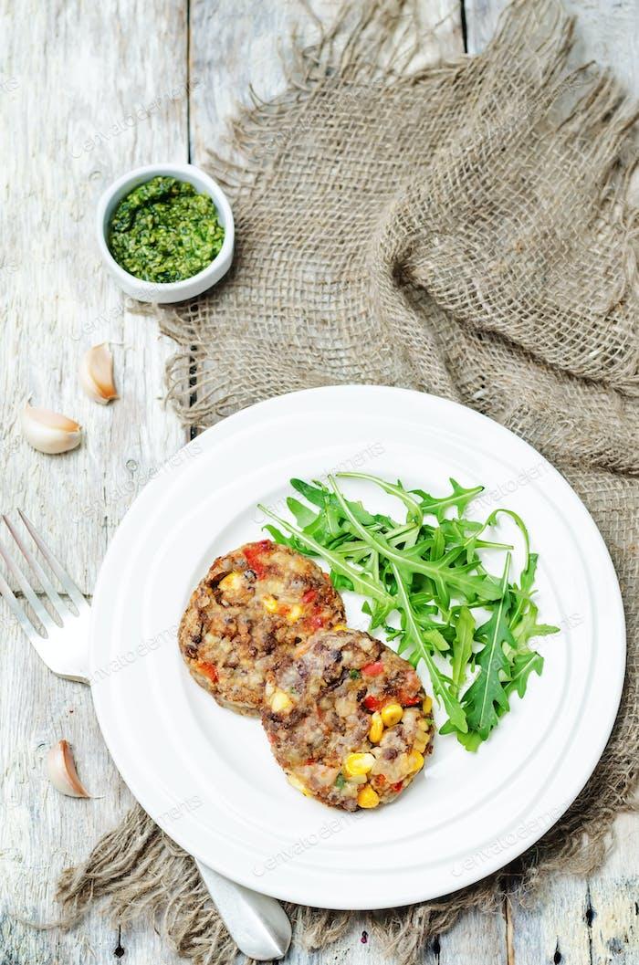 green lentils corn pepper fritters