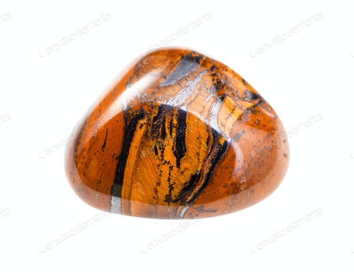 Tigers-eye gem stone isolated on white