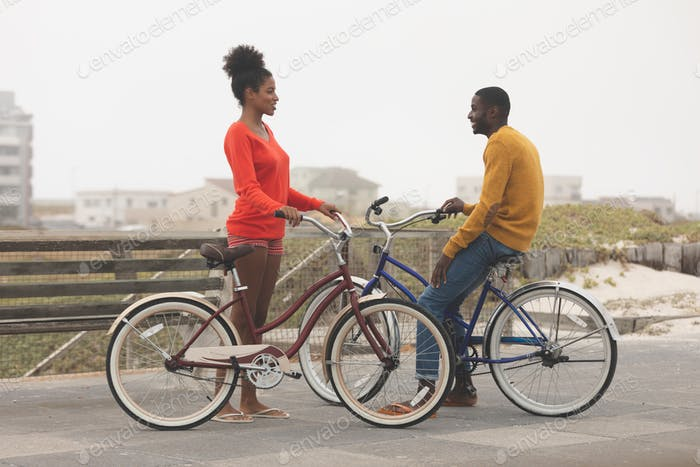 Side view of cute Multi-ethnic couple interacting with each other while holding bicycle on promenade