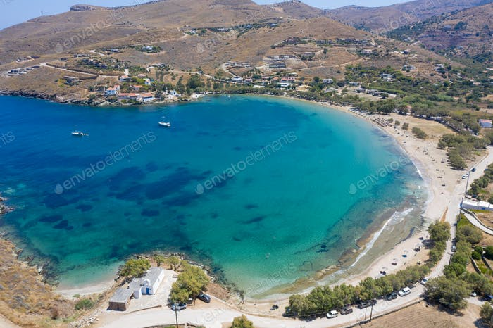 Kea Tzia island, Cyclades, Greece. Aerial view of Otzias bay