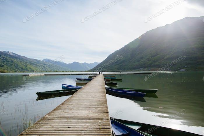 long lake pier at lake in MOntenegro