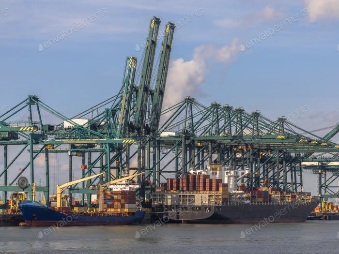 Container ships in port of Antwerp