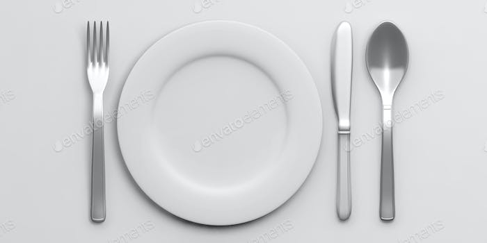 Place Setting isolated on white background. 3d illustration