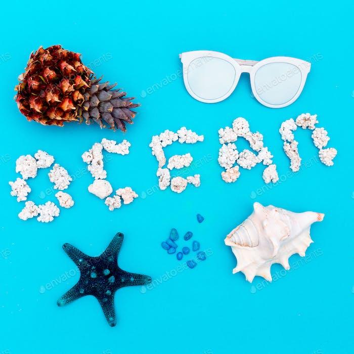 Ocean set. Shells and sunglasses. Minimal design