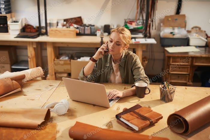 Caucasian Woman Having Phone Call