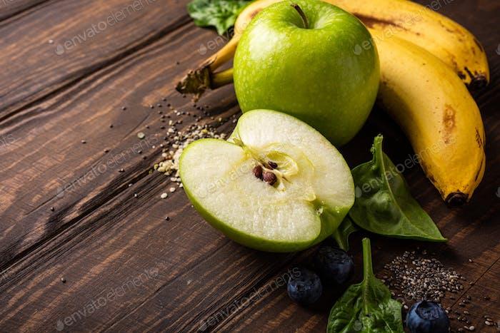 Ingredients fot healthy breakfast detox green smoothie