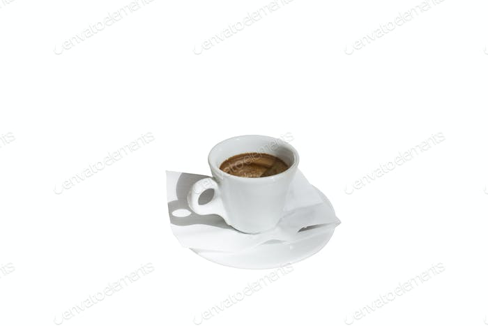 Cup of coffee can be used for fortune telling. Isolated in a white background. Close-up.