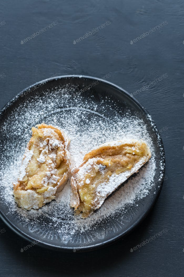 Apple strudel on the plate