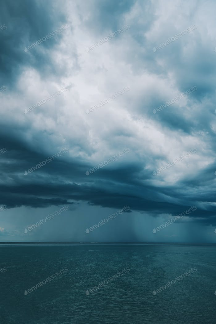Stormy clouds over sea