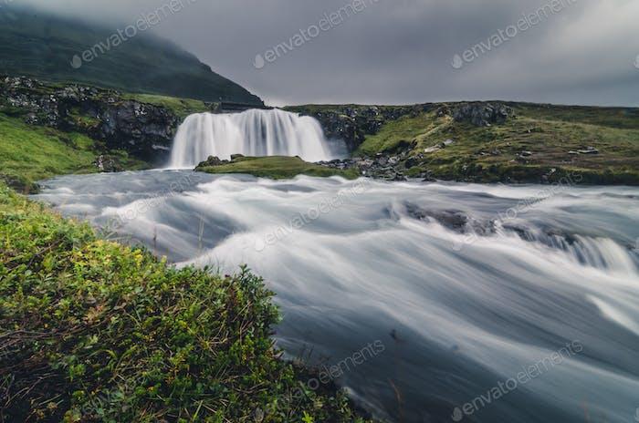 Kirkjufell waterfall landscape, Iceland