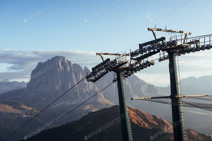 Detailed view. Cableway standing on the hills in Seceda dolomites