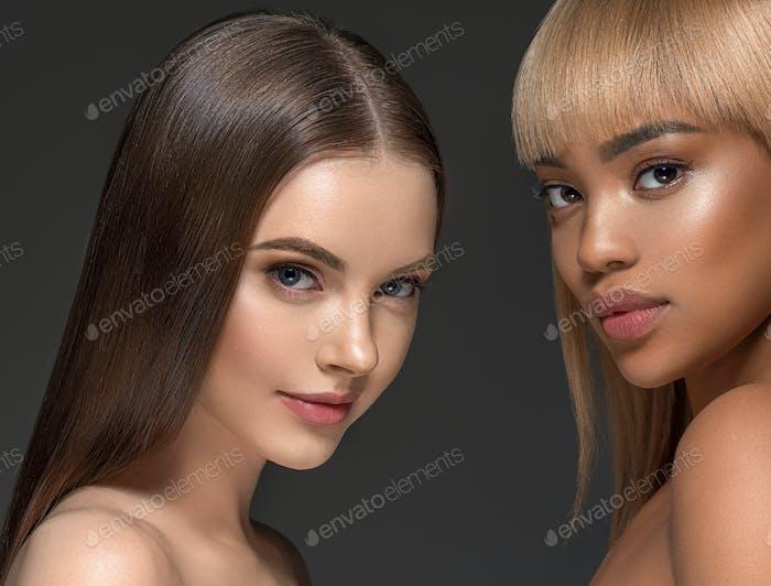 Beauty group women healthy skin care ethnic model two