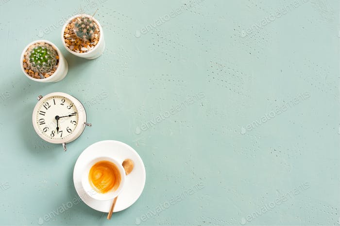 Morning Background with Coffee and Alarm Clock