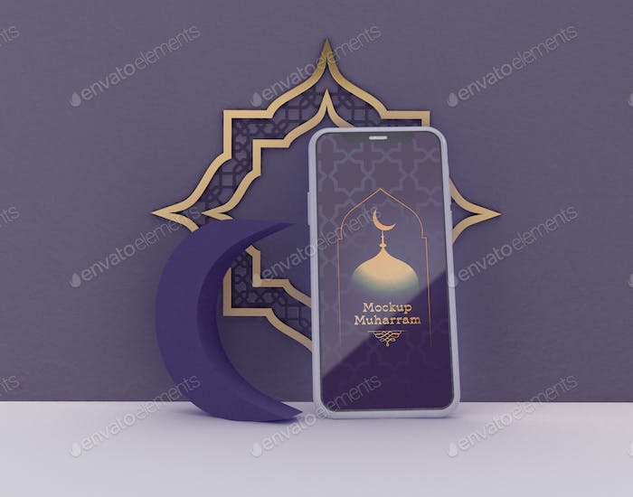 3D Illustration. Eid Mubarak. Muslime Community feier.